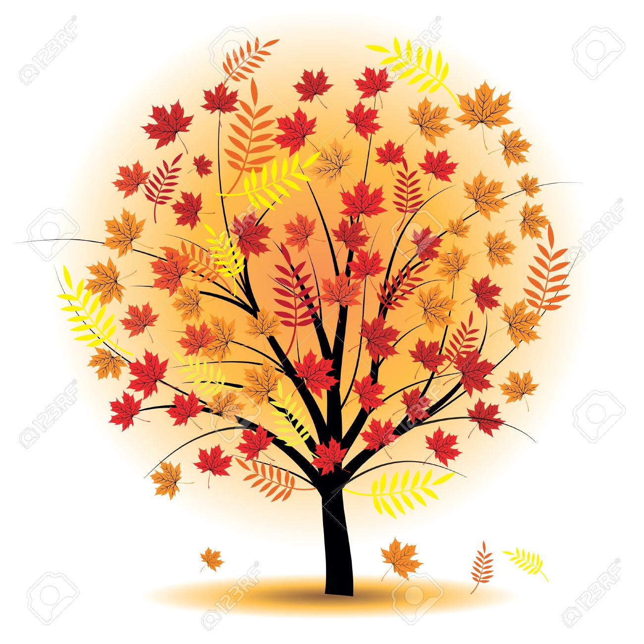 10014604 Beautiful autumn tree Design element Fall illustration Stock Photo